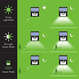 Mpow Solar Lights, 2-Pack LED Motion Sensor Wall Light Bright Weatherproof Wireless Security Outdoor Light with Motion Activated ON/OFF for Step, Garden, Yard, Deck