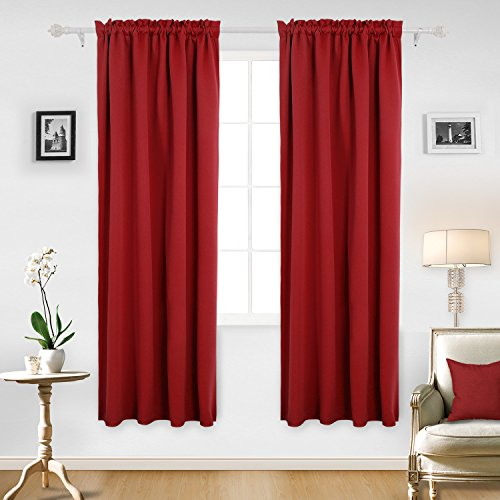 84l Panel (Deconovo Red Blackout Curtains Rod Pocket Drapes Window Curtains for Bedroom True Red 42W x 84L Inch 2 Panels)