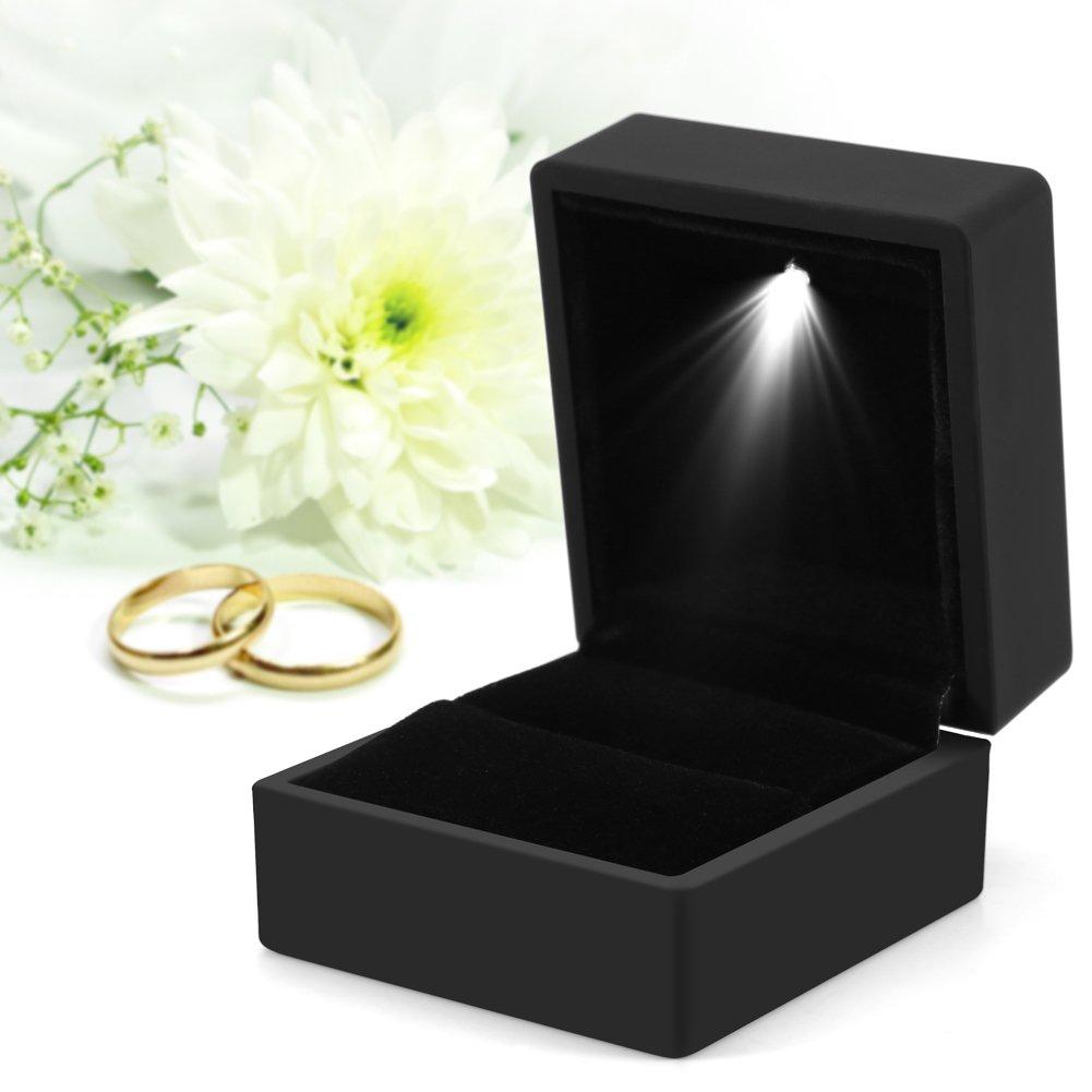 4 colores de moda LED iluminado Anillo caja de almacenamiento de joyería Display Case Gift(negro)