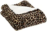 Northpoint Wild Side Faux Fur Sherpa Throw, Leopard, 50 x 60 Inch