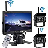 "2x Wireless 18LEDs Night Vision Waterproof Backup Camera Rear View System for Bus Truck Trailer + 7"" Wrieless Car TFT LCD Screen Color Rear View Monitor 12V-24V"