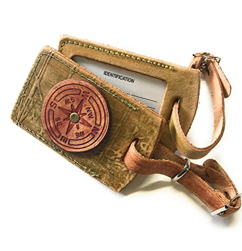Rustic Riveted Compass Rose Tan and Green Leather Luggage Tag in Boho Style with Name Plate Bag Tag with Privacy Flap ()