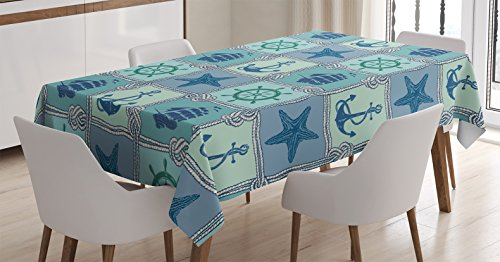 Rope Pattern (Ships Wheel Decor Tablecloth by Ambesonne, Nautical Patchwork Pattern with Ropes Starfish Sailing Ship Anchor and Wheel, Dining Room Kitchen Rectangular Table Cover, 60 X 84 Inches)