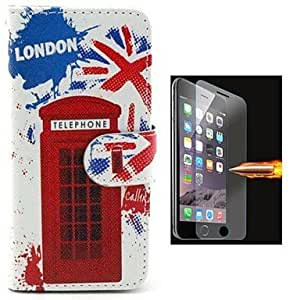 LCJ Red Gate Design PU Leather Full Body Case with Explosion-Proof Glass Film for iPhone 6
