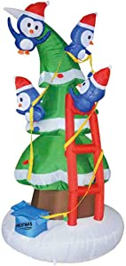 GOOSH 8Foot High Christmas Inflatable Blow up Four Penguins Climb The Christmas Tree Yard Decoration, Indoor Outdoor Garden Christmas Decorations.