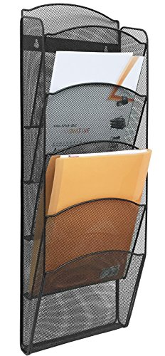 (Greenco Mesh 5 Slot Wall Mounted Magazine Rack Holder, Black (GRC2579))