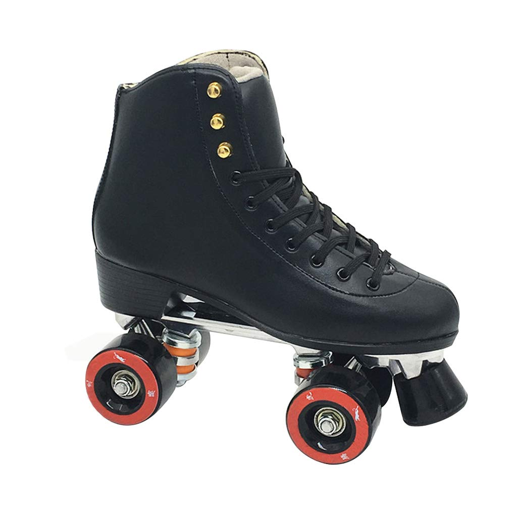 YANGXIAOYU Skates, Roller Skates, Double-Row Skates, Double-Row Roller Skates, Adult Skates, Double-Row Skates, Black, No Flash, Casual, Instead of Walking (Color : Black, Size : 35)