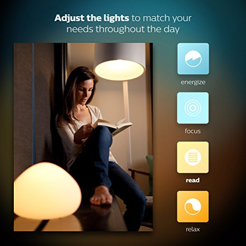 Philips Hue White and Color Ambiance A19 60W Equivalent LED Smart Bulb Starter Kit (4 A19 Bulbs and 1 Bridge, Compatible with Amazon Alexa, Apple HomeKit and Google Assistant)