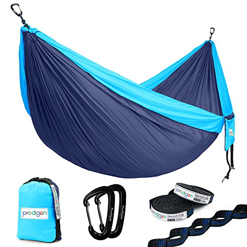 Price comparison product image Prodigen Double Parachute Camping Hammock-Outdoor Portable Backpacking Hammock for Hiking,Travel,Beach,Backyard-Best Two Person Lightweight Nylon Hammocks with Straps. 500LBNavy Blue/Light Blue