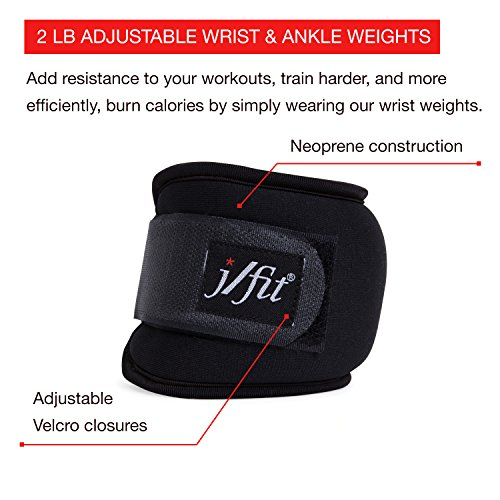 j/fit Adjustable Wrist & Ankle Weights Set of 2 2 Lbs Each – Wrist Size: L XL | Ankle Size: SM L | Adjustable For a Convenient & Comfortable Fit