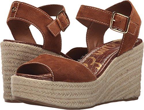 Sam Edelman Women's Dimitree Espadrille Wedge Sandal, Luggage, 9 M US - Brown Leather Wedge Sandal