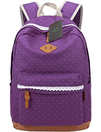 Mygreen Girls School Bags Rucksack Cute Floral Dot Bookbags Purple