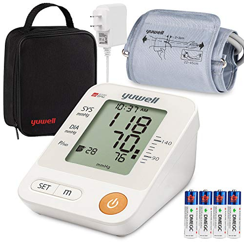 Blood Pressure Monitor Upper Arm Cuff, Yuwell Intelligent Large Display BP Monitoring Meter with Cuff 8.7′-17.7 and Portable Bag, Accurate Automatic Digital Machine for Home Use Pulse Rate Monitoring