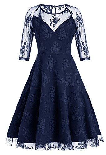 Bestfort Damen Abendkleid Knielang Elegant Rundhals Cocktailkleid Kleid Spitze Kurze Ärmel Partykleid Evening Dress Blau