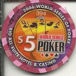 $5 rio world series of poker 2006 limited las vegas casino chip royal flush