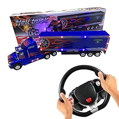 Big-Daddy 2017 2.0 Super Cool Series Extra Large Super Duty Tractor Trailer With Light & Music (Color may - Blue Truck Cool