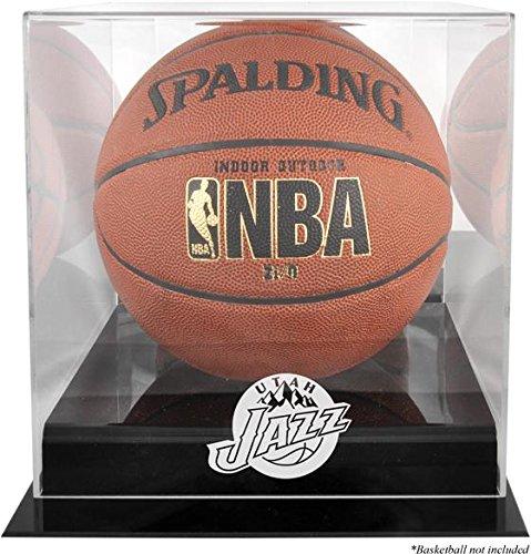 Utah Jazz Black Base Logo Basketball Display Case and Mirror Back
