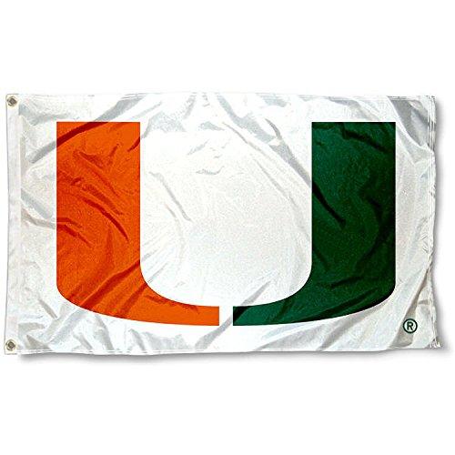 Miami Hurricanes 3x5 Flag (Miami Canes Large White 3x5 College Flag)
