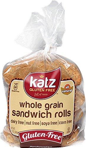 Katz Gluten Free Whole Grain Sandwich Rolls, 11 Ounce, Certified Gluten Free - Kosher - Dairy, Soy, Corn & Nut free - (Pack of 1) (Whole Wheat Buns)