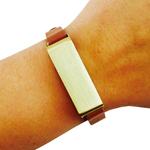 Fitbit Bracelet for FitBit Flex Fitness Activity Trackers - The KATE Single-Strap Brushed Metal and Premium Vegan Leather Buckle Fitbit Bracelet (Tan and Gold Vegan Leather, (Studded Wristband Single)