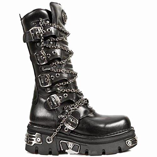 New Rock Metallic Boots Unisex - Black - Euro 44 1TVeXQId