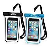 Waterproof Bag, [2 Pack] iVoler Clear Universal Snowproof Dirtproof Dry Bag Pouch for 6 / 6s Plus, iphone 7/7Plus, SE 5S 5C, Samsung Galaxy S6/S6 Edge/ S8 Plus/S8/s5 , ipod touch, Cell Phone up to 6 inches (Black +Blue )