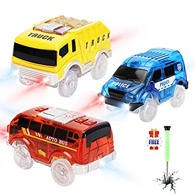 Tracks Cars only Replacement, Race Cars for Magic Tracks Glow in The Dark, Light up Racing Car Track Accessories with 5 Flashing LED Lights, Compatible with Most Tracks for Kids Boys and Girls(3pack): Toys & Games