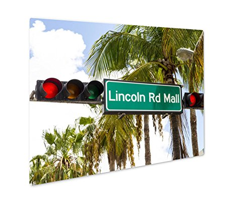 Ashley Giclee Metal Panel Print, Lincoln Road Mall Street Sign Located In Miami Beach, Wall Art Decor, Floating Frame, Ready to Hang 8x10, - Mall Miami Road South Lincoln Beach