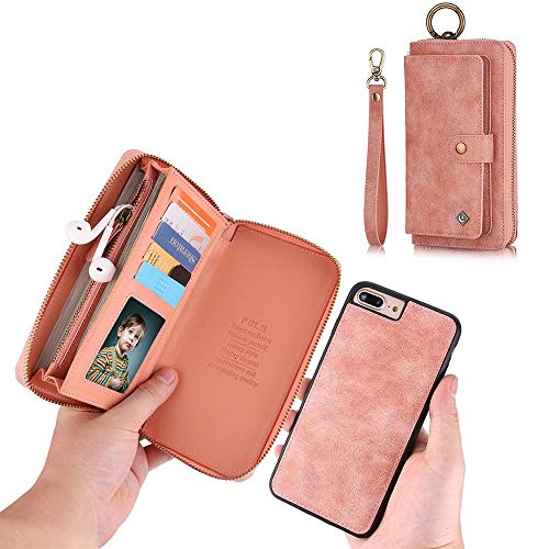 iPhone 7 Wallet Case - JAZ Zipper Purse Detachable Magnetic 14 Card Slots Card Slots Money Pocket Clutch Leather Wallet Case for iPhone 8/iPhone 7 Rose gold