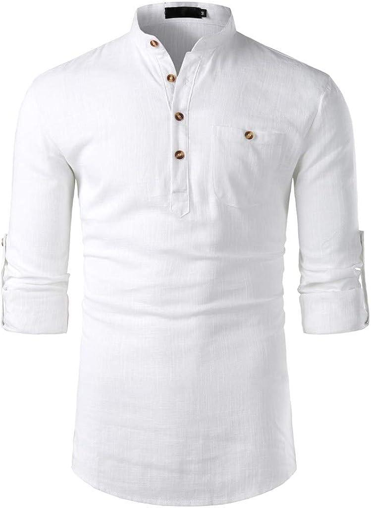 Moonuy - Camisa de Hombre de algodón y Lino, Informal, de ...
