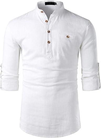 Moonuy - Camisa de Hombre de algodón y Lino, Informal, de Manga Larga, para Hombre Blanco M: Amazon.es: Ropa y accesorios