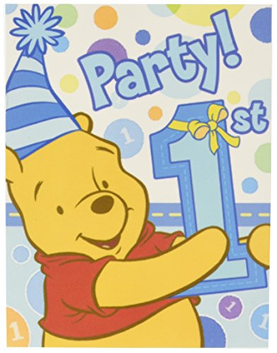 Disney Pooh's 1st Boy Invitations - Pooh's 1st Boy Invitations Package of 8 - Party Supplies & Clearance Birthday Invitations