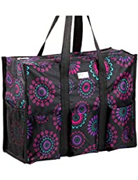 Zip-Top Organizing Utility Tote Bag (Purple Circle_L) with Multiple Exterior & Interior Pockets for Working Women, Nurses, Teachers and Soccer Moms