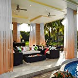 cololeaf Indoor Outdoor Gradient Ombre Sheer Curtain for Patio| Porch| Gazebo| Pergola | Cabana | Dock| Beach Home| Backyard| Country| Garden| Wedding - Rod Pocket - Orange 52'' W x 102'' L (1 Panel)
