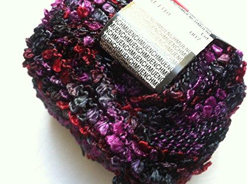 Muench Fabu Boucle Ribbon Yarn - #4310 Purple, Ruby Red, Black, Grey 50 Gram -