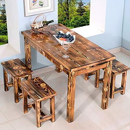 madera carbonizada tablas sólidas de aperitivos, sillas ...