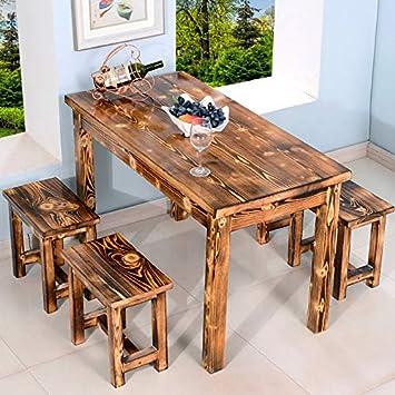 Massivholz Verkohlt Snack Tische Stuhle Restaurants Speisesale