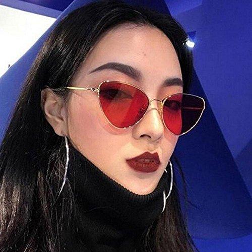 Cateye Retro Monture Rouge Léger Aolvo C4 Soleil Hd fille Miroir Et Doré De Vintage Femme Lunettes Pour Métal RqYn5CX