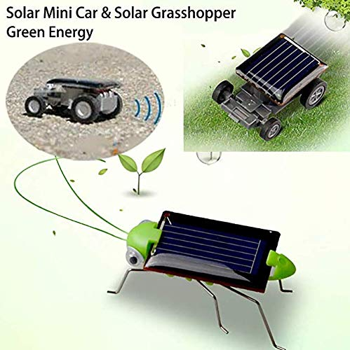 Vacally Solar Toys Car Mini Solar Powered Physics Science Education Solar Kids Car Model Electric Motor Experiment Toy DIY Car Children Grasshopper Educational Gadget Environmental - Solar Mini Racer