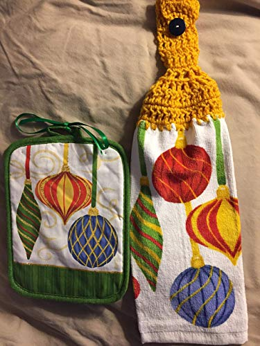 Free ship to USA - 1 CROCHET KITCHEN hand TOWEL LIGHT weight terry cloth and Coordinating hot pad - Christmas Ornaments - Soft Golden Yellow 100% acrylic yarn crochet top ()