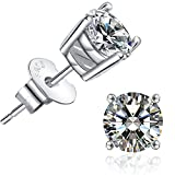 Brilliant Cut CZ Stud Earrings – 18K White Gold Plated Stud Earrings For Women Men Ear Piercing Earrings Cubic Zirconia Inlaid,4mm,5mm,6mm,7mm Available