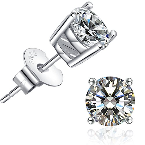 (Brilliant Cut CZ Stud Earrings – 18K White Gold Plated Stud Earrings For Women Men Ear Piercing Earrings Cubic Zirconia Inlaid,4mm,5mm,6mm,7mm Available)