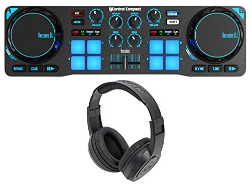 Hercules DJControl Compact USB 2-Deck DJ Controller Mixer+Samson Headphones ()