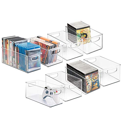 mDesign Plastic Stackable Household Storage Organizer Container Bin with Handles - for Media Consoles, Closets, Cabinets - Holds DVDs, Video Games, Gaming Accessories - BPA Free - 8 Pack, Clear