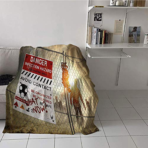 Khaki home Children's Blanket Toddler Plush Throw Blanket (60 by 62 Inch,Zombie Decor,Dead Man Walking Dark Danger Scary Scene Fiction Halloween Infection -