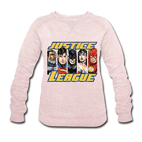 Spreadshirt DC Comics Ligue De Justice D'Amérique Héros Sweat-shirt bio Stanley & Stella Femme, S, rose crème chiné