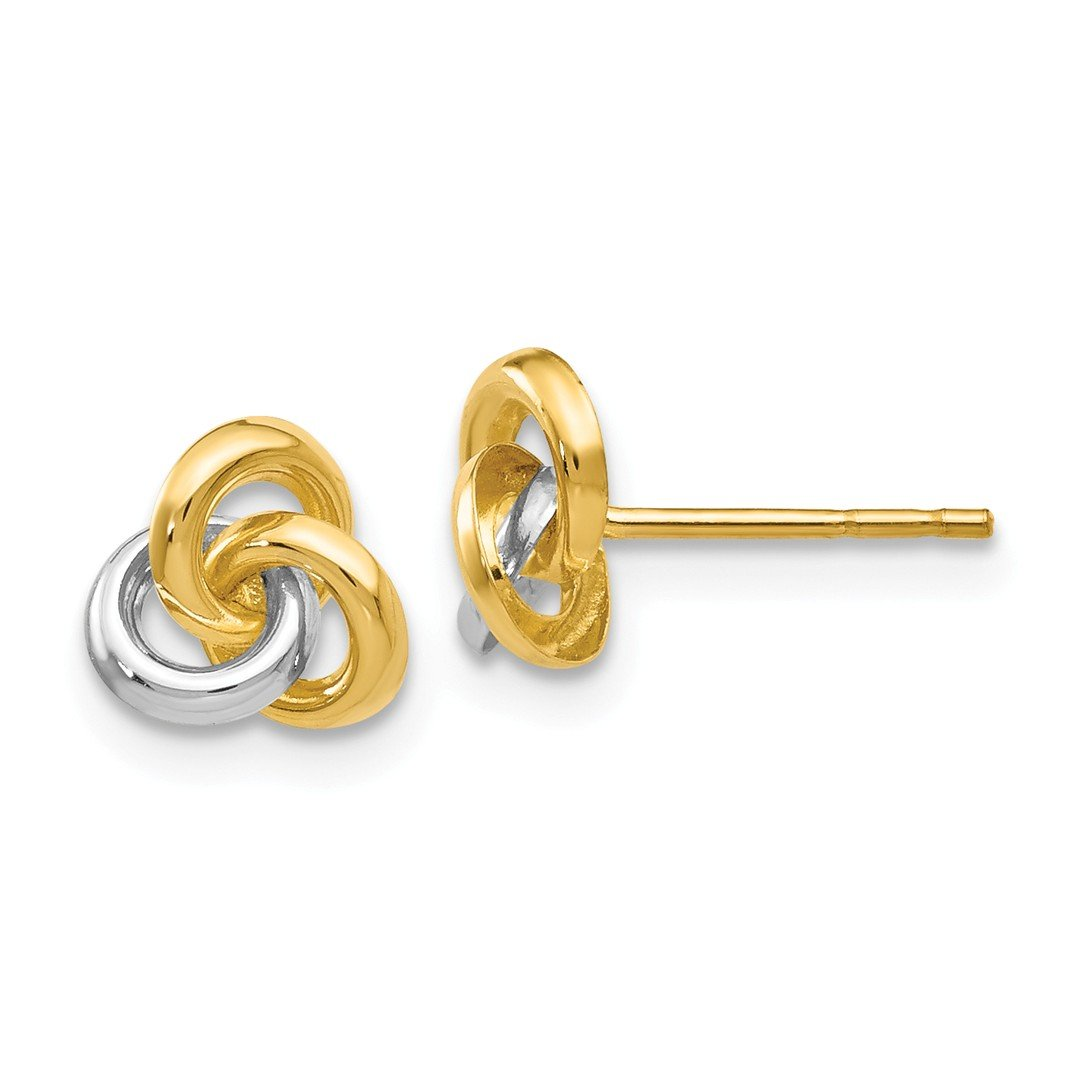 ICE CARATS 14k Yellow Gold Love Knot Post Stud Ball Button Earrings Fine Jewelry Gift Set For Women Heart