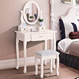 GTM Vanity Makeup Table Set with Stool,3 Drawers and Oval Mirror ,Ivory