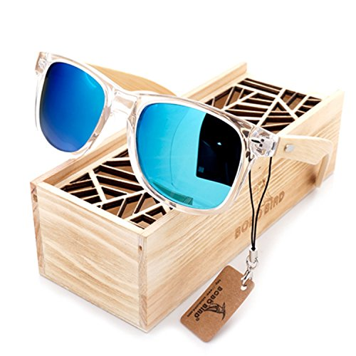 JapanX Bamboo Sunglasses & Wood Wooden Sunglasses for Men Women, Polarized Lenses Gift Box – Wooden Vintage Wayfarer Sunglasses - Bamboo Wood Wooden Frame – New Style Sunglasses (A2 BLUE - Ranch Demolition Bamboo Sunglasses