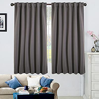 "Ottomanson 52"" X 63"" Back Tab & Rod Pocket-Grey (2 Panels) Blackout Curtain Piece - Cuts out 80Percent - 90Percent of light and UV rays for maximum energy efficiency, while insulating heat and cold. Also improves sleeping conditions and TV viewing experience Design: modern Durable machine-made fade and wear resistant. Made in Turkey - living-room-soft-furnishings, living-room, draperies-curtains-shades - 51XB1dQJDvL. SS400  -"